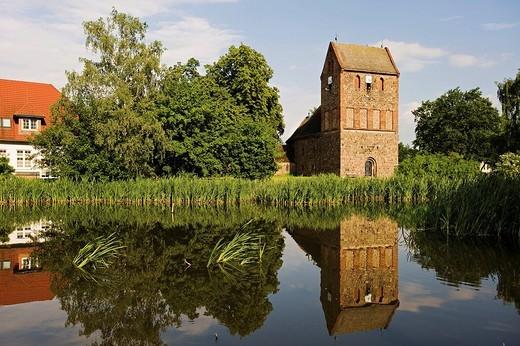 Fieldstone church in Lindenberg near Berlin, Brandenburg, Germany, Europe : Stock Photo