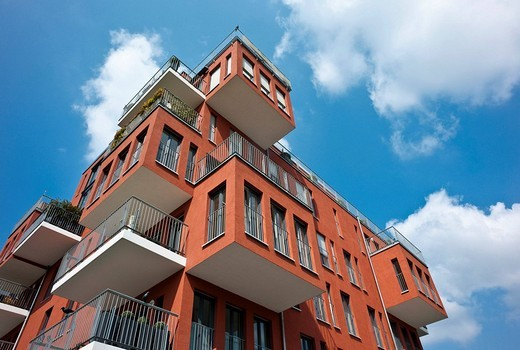 Luxurious owner_occupied flats in the West Port, Frankfurt, Hesse, Germany, Europe : Stock Photo