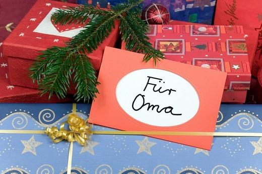 Christmas presents for grandma : Stock Photo