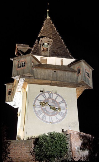 Grazer clock tower on the castle mountain in Graz, Styria, Austria : Stock Photo