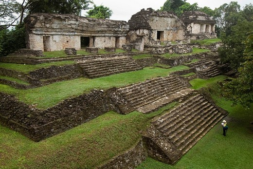 Grupo Norte, northern group, Maya archeological site Palenque, Chiapas, Mexico : Stock Photo