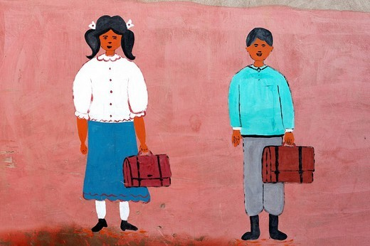 Schoolboy and schoolgirl, naive mural painting, Moroccan school, Medina, Marrakech, Morocco, Africa : Stock Photo