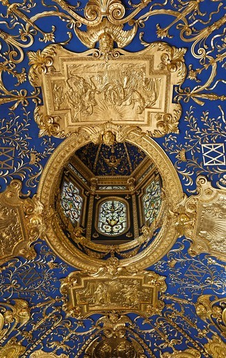 Detail of ceiling, Reiche Kapelle Ornate Chapel, Residence Museum, Munich, Bavaria, Germany : Stock Photo