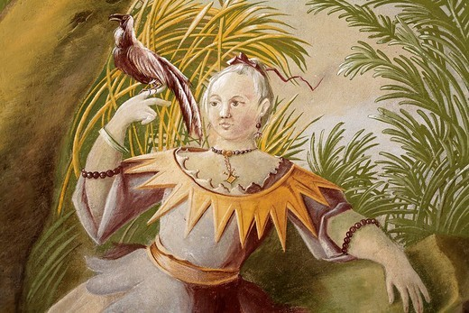 Frau holding an exotic bird, fresco at Benedictine convent Altenburg near Horn, Lower Austria : Stock Photo