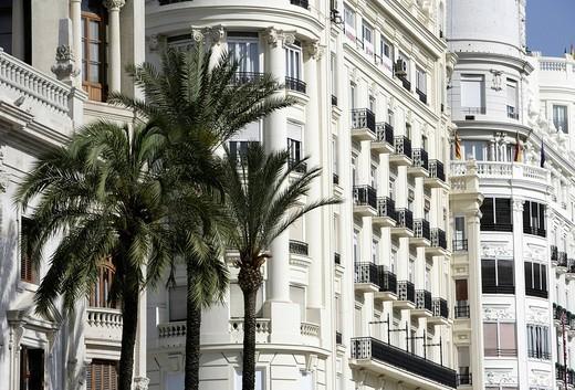 Stock Photo: 1848-223000 ESP, Spain, Valencia : Plaza Ayuntamiento, Avenida Marques De Sotelo, central city hall square