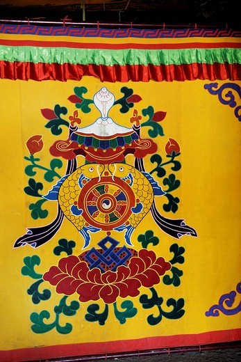 Stock Photo: 1848-223067 Painted curtain, Palcho Monastery or Pelkor Chode Monastery or Shekar Gyantse, Gyantse, Tibet