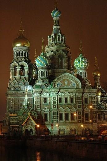 Saviours church at night, St. Petersburg, Russia : Stock Photo