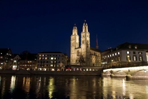 Grossmuenster Cathedral, Limmatquai Limmat Quay, Zurich, Switzerland, Europe : Stock Photo