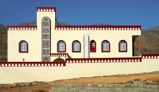 Facade of a modern residential home in a typical Arabian style, Sur, Oman, Middle East : Stock Photo