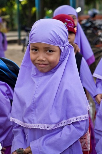 Stock Photo: 1848-223390 Muslim schoolchildren in front of a school in Mataram, the capital of Lombok Island, Lesser Sunda Islands, Indonesia, Asia