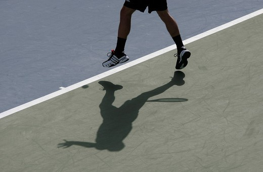 Stock Photo: 1848-223397 Tennis Championships, tennis player´s shadow on a hard court, Dubai, United Arab Emirates