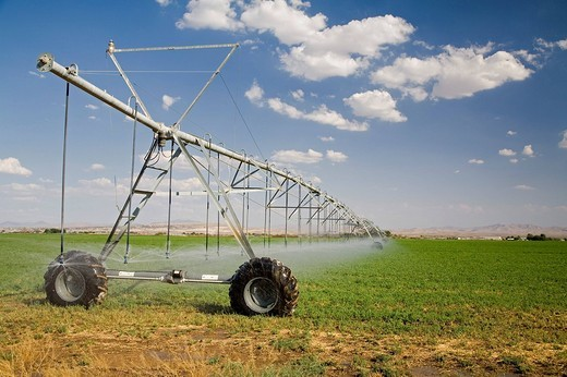 Stock Photo: 1848-223900 A field in California´s Mojave Desert being irrigated with center_pivot irrigation equipment, Barstow, California, USA