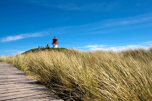 Stock Photo: 1848-224066 Quermarkenfeuer, small lighthouse in the dunes, Norddorf, Amrum, North Frisia, Schleswig_Holstein, Germany, Europe