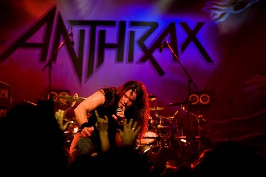 Dan Nelson, singer and frontman of U.S. metal band Anthrax live at the Schueuer, Lucerne, Switzerland : Stock Photo