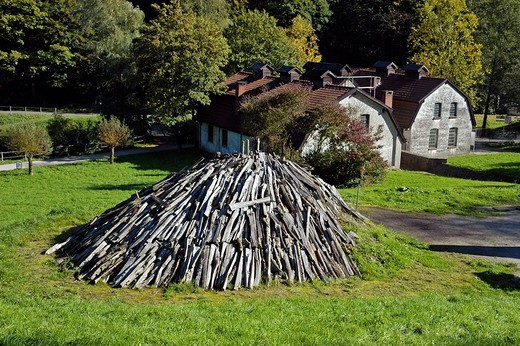 Stock Photo: 1848-224572 Charcoal kiln, Westphalian Open_Air Museum Hagen, Road of Industry Culture, North Rhine_Westphalia, Germany
