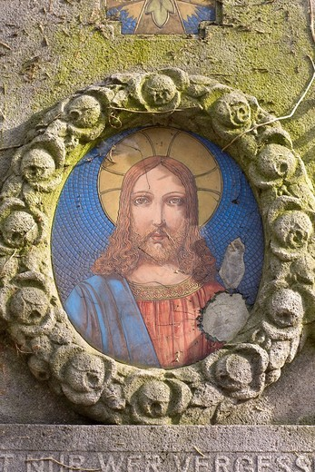 Portrait of Jesus, Alter Suedfriedhof, old cemetery in the south of Munich, Bavaria, Germany : Stock Photo