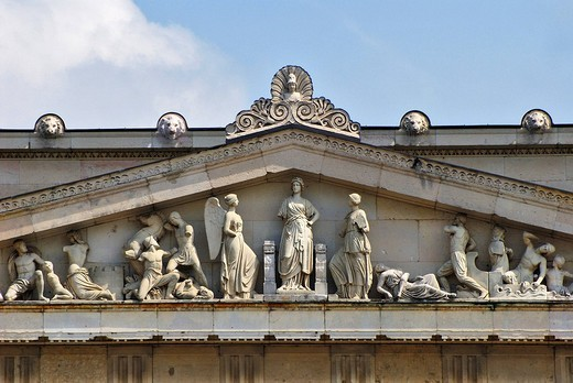 Stock Photo: 1848-224724 Detail of the Propylaeen, gate to the Koenigsplatz, gable, Munich, Bavaria, Germany