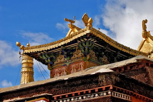 Facade, golden roof, Palcho Monastery or Pelkor chode or Shekar, Gyantse, Tibet : Stock Photo