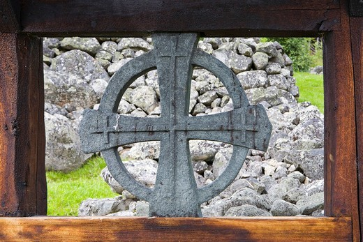 Stone cross in the window of the Uvdal stave church, Norway, Scandinavia, Europe : Stock Photo