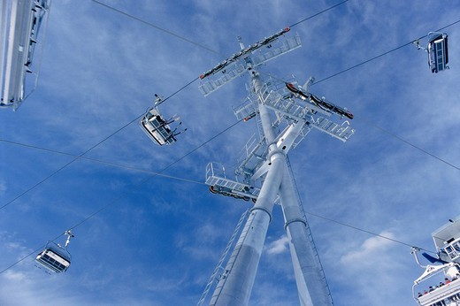 Stock Photo: 1848-225444 Chair lift poles, Ischgl, Idalpe, Tyrol, Austria, Europe