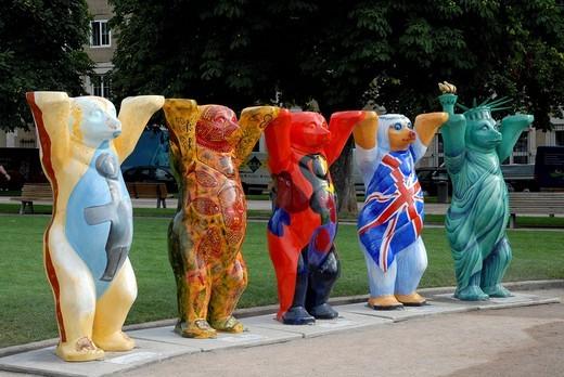 United Buddy Bears, bear parade, Schlossplatz, Stuttgart, Baden_Wuerttemberg, Germany, Europe : Stock Photo