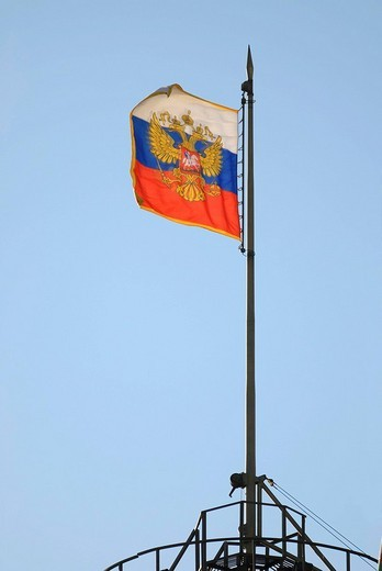 Stock Photo: 1848-225905 Russian flag above a dome of the Senate Palace, President Residency, Kremlin, Moscow, Russia