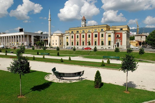 Skanderbeg Square in Tirana, Albania, Europe : Stock Photo