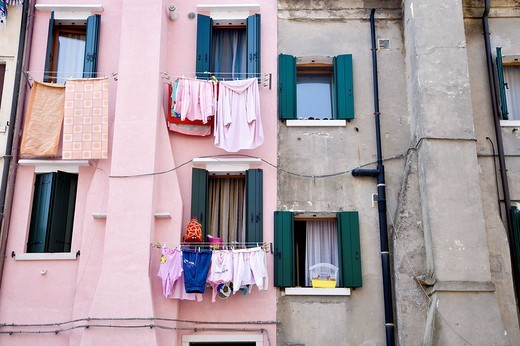 Stock Photo: 1848-22597 Washing lines on a house wall, Chioggia, Venetian Lagoon, Italy, Europe
