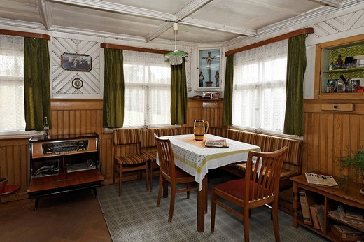 Living room with original furniture from the ´50s, music cabinet, Haus Haeusing house, Wolfegg farmhouse museum, Allgaeu region, Upper Swabia, Baden_Wuerttemberg, Germany, Europe : Stock Photo