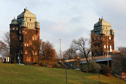 Historic bridge towers of the Friedrich_Ebert_Bruecke, Duisburg_Ruhrort, NRW, Germany : Stock Photo