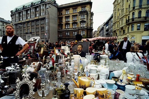 Viennese flea market, Vienna, Austria, Europe : Stock Photo
