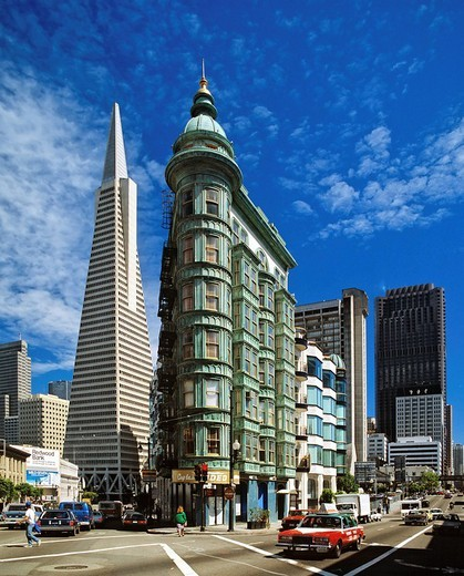 Stock Photo: 1848-227361 Transamerica Pyramid left and the Columbus tower right in San Francisco, California, USA