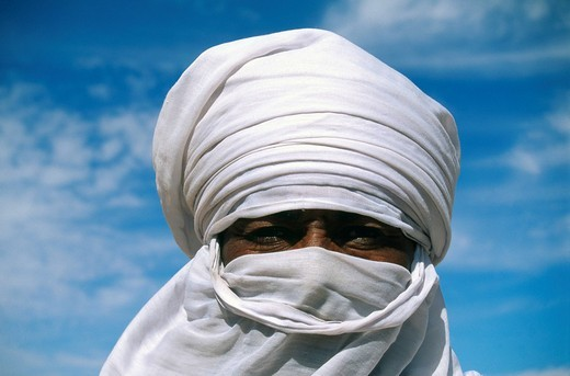 Tuareg man, portrait, Libya, Africa : Stock Photo