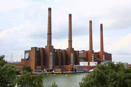 Volkswagen factory, Wolfsburg, Lower Saxony, Germany, Europe : Stock Photo