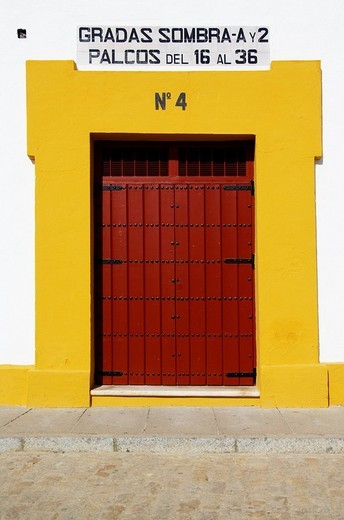 Real Maestranza de Sevilla, side door of the bullfighting arena of Seville, Andalusia, Spain, Europe : Stock Photo