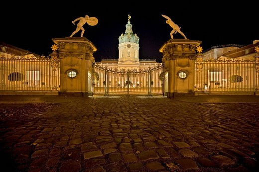 Charlottenburg castle during the Festival of Lights 2008, Berlin, Germany, Europe : Stock Photo