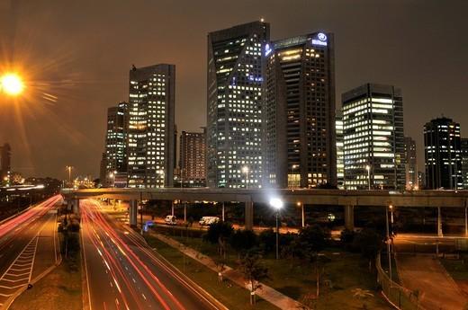 Stock Photo: 1848-227836 Modern skyscrapers, Sao Paulo Hilton Hotel by night, Morumbi district, Sao Paulo, Brazil, South America