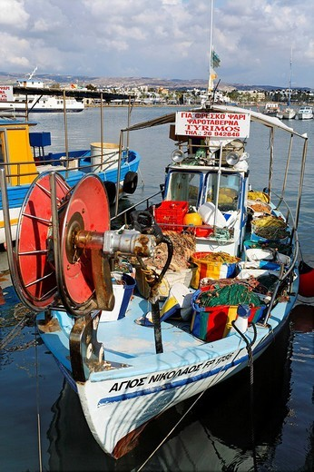 Stock Photo: 1848-227934 Fishing boat, harbour, Paphos, Pafos, Cyprus, Europe