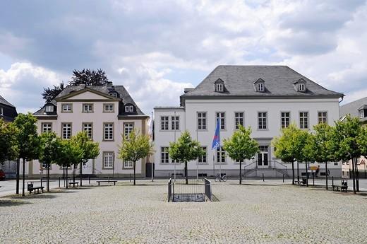 Kunstverein art association, house of the Casino company, district administration, neo_classical Neumarkt square, Arnsberg, Sauerland region, North Rhine_Westphalia, Germany, Europe : Stock Photo