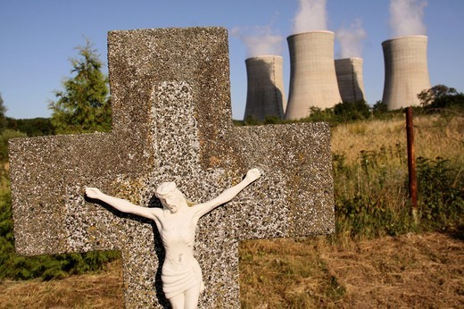 Stock Photo: 1848-228504 Crucifix in front of the Mochovce Nuclear Power Plant in Okres Levice, 120 km from Bratislava, Slovakia, Europe