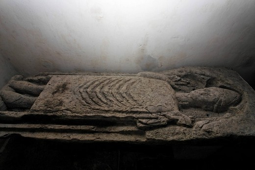 Tomb of a bishop in the Kilfenora church, Burren, Clare, Ireland : Stock Photo