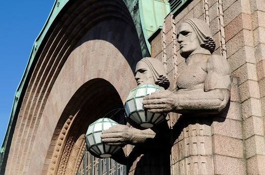 Stock Photo: 1848-22890 Main train station with Art Nouveau statues, Helsinki, Finland, Europe