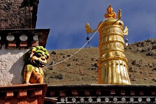 Golden little tower, Palcho Monastery or Pelkor chode or Shekar, Gyantse, Tibet : Stock Photo