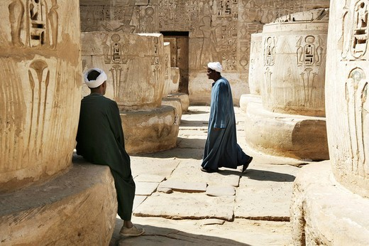 Guard, Medinet Habu, Mortuary Temple of Ramesses III, West Thebes, Luxor, Egypt, Africa : Stock Photo