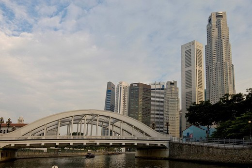 Financial District and Anderson Bridge on the Marina Bay, Singapore River, Singapore, Southeast Asia : Stock Photo