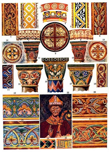 Romanesque wall painting, Middle Ages, medieval ornament in France, Gelis_Didot et Saffille, La peinture decorative en France du XIe au XVIe siecle : Stock Photo