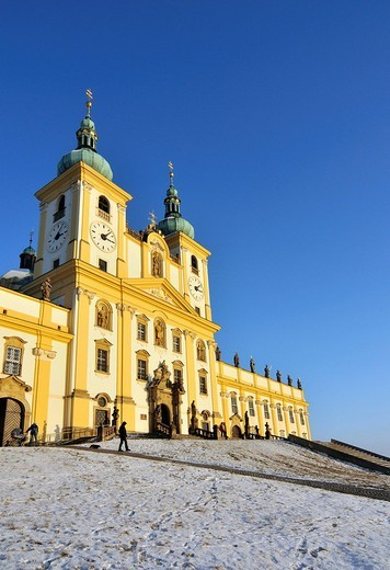 Baroque Basilica Minor, Church of Visitation of Virgin Mary, on Svaty Kopecek, Holy Hill, near Olomouc, Czech Republic, Europe : Stock Photo