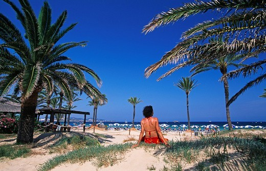 Playa d´en Bossa, Ibiza, Balearic Islands, Spain : Stock Photo