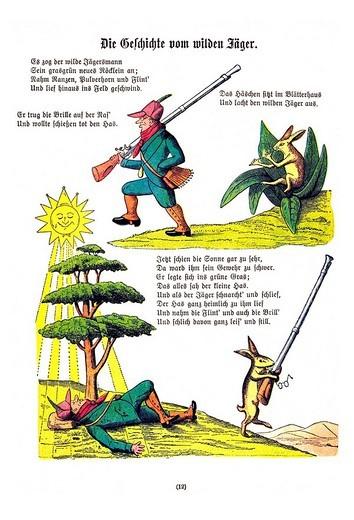Book illustration, Die Geschichte vom wilden Jaeger, The Story of the Wild Huntsman, Der Struwwelpeter, Shaggy Peter, Dr. Heinrich Hoffmann, 1876 : Stock Photo
