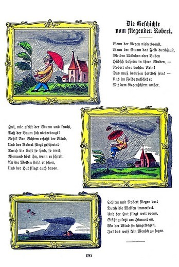 Book illustration, Die Geschichte vom fliegenden Robert, The Story of Flying Robert, Der Struwwelpeter, Shaggy Peter, Dr. Heinrich Hoffmann, 1876 : Stock Photo